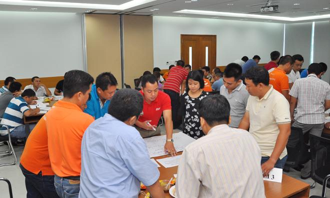 Các nhóm đều rất tập trung với tinh thần làm việc khẩn trương để trong khoảng 1h đưa ra được giải pháo toàn diện cho vấn đề được nêu.