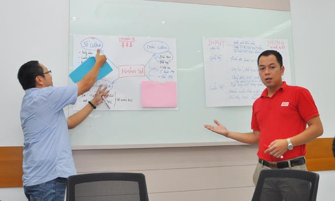 Bắt đầu là phần giới thiệu hóm hỉnh của anh Nguyễn Võ Đăng Khoa (trái), GĐ Trung tâm Kinh doanh sài Gòn 6, anh Nguyễn Hữu Hoài Hưng, GĐ Trung tâm Kinh doanh Sài Gòn 1, đã có bài trình bày ấn tượng. Xác định nhân sự là chìa khóa của mọi vấn đề, nhóm 3 đã thiết kế 4 module với những giải pháp gẫn gũi, thiết thực. Điểm nhấn của đội là vừa có lý thuyết vừa có trải nghiệm thực tế của những người trong cuộc nên phần trình bày rất lôi cuốn và sinh động.