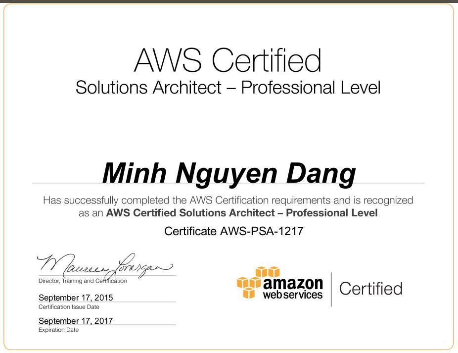 AWS Certified Solutions Architect được coi là một trong những chứng chỉ khó nhất, yêu cầu đầy đủ kỹ năng cũng như hiểu biết ở mức sâu về Amazon Web Service (AWS); có kinh nghiệm nhiều năm về Distributed System, Networking, Security, Disaster Recovery để thiết kế, triển khai, vận hành ứng dụng và cơ sở hạ tầng trên nền tảng AWS.