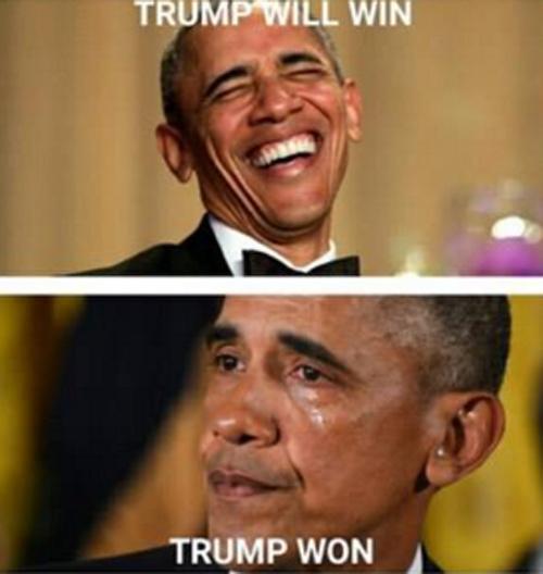 Kết quả Donald Trump trúng cử , khiến Barack Obama cũng phải rớt nước mắt...