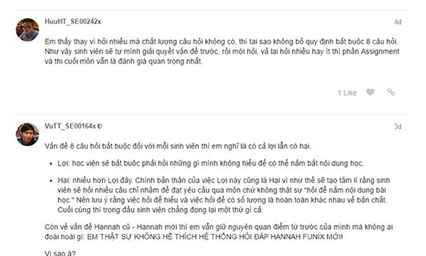 Một số bình luận của các thành viên trên diễn đàn xRoom dành cho sinh viên và mentor của trường.