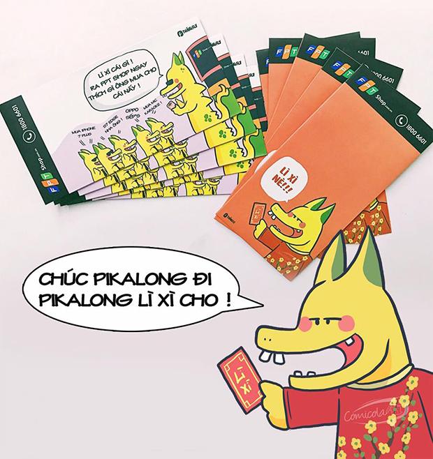 """""""Ăn theo"""" trào lưu này, FPT Shop cũng tung ra khoảng 3.000 bao lì xì in hình Pikalong để tặng khách hàng và"""