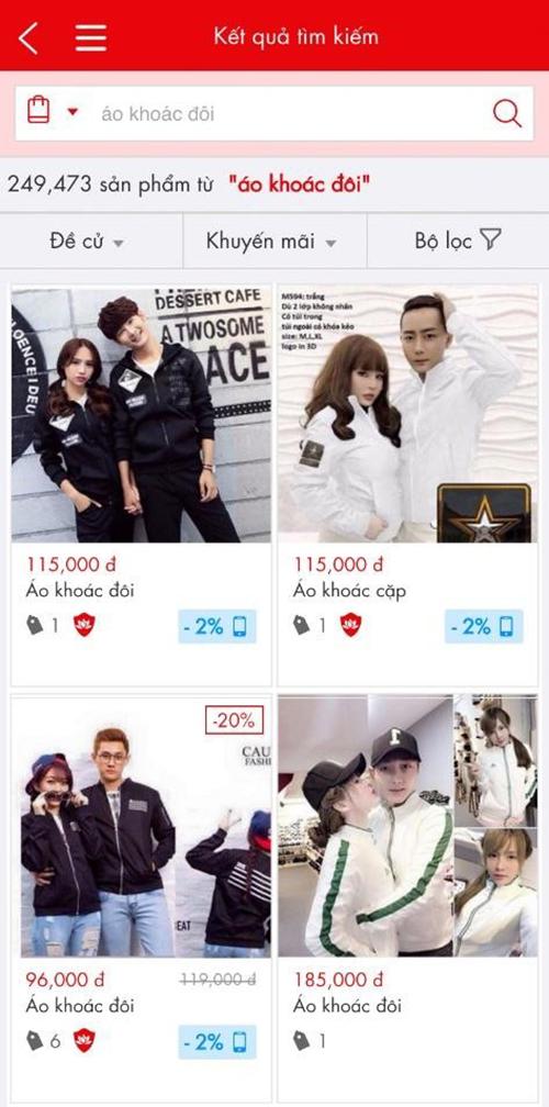 Giao diện tìm kiếm trên mobile của Sendo.vn