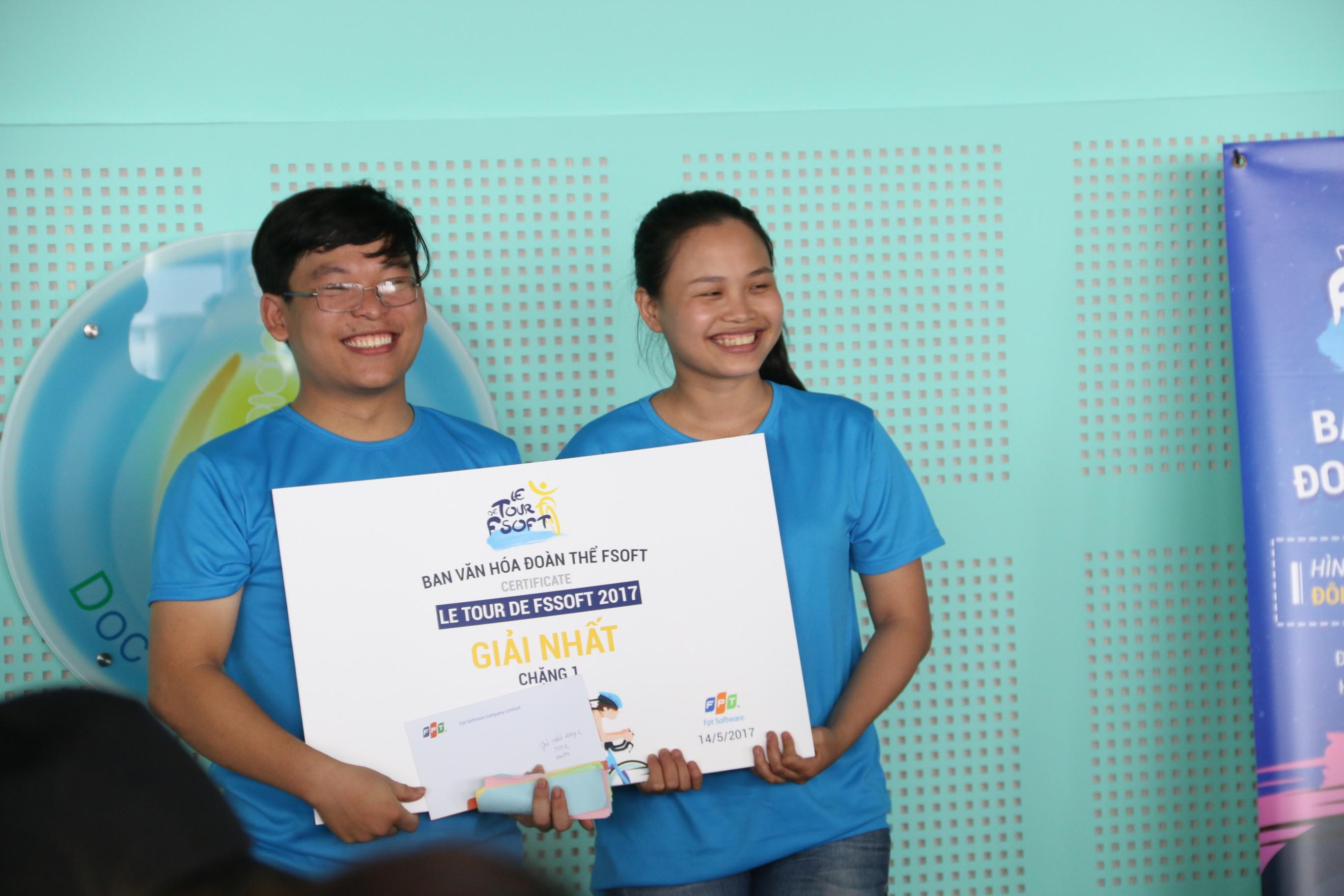 Giải Nhất hai chặng (tòa nhà FPT Cầu Giấy tới số 19 Ngọc Hà và ngược lại) đã được trao cho cặp đôiPhạm Minh Hải (FGA.FPT Software) và bạn đua Nguyễn Thị Bé.