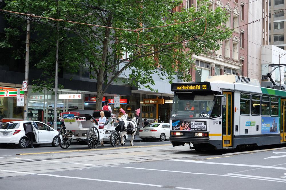 Tàu điện vẫn là phương tiện lưu thông quan trọng của người thành phố. Khách du lịch có thể lựa chọn đi tàu điện hoặc bỏ tiền đi xe ngựa một vòng quanh khu trung tâm.