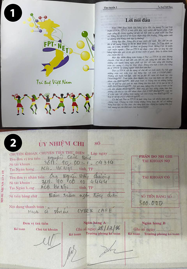 Ảnh 1: logo của mạng TTVN trong tuyển tập thơ cùng tên Ảnh 2: hóa đơn mua cổ phần của quán Net Cafe Emotion của anh Nguyễn Cảnh Bình!
