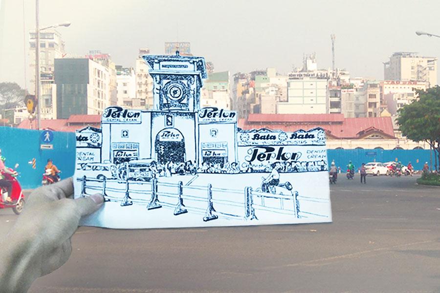 Một điều khá thú vị nhưng ít người biết, trước năm 1975, chợ Bến Thành không có bảng tên như thời điểm hiện tại. Dựa theo bức ảnh tư liệu hiếm hoi về mặt tiền chợ, người Sài Gòn lại được nhìn ngắm hình ảnh Sài Gòn đã xưa nhưng không hề cũ. (Tác giả Lê Thanh Tùng).