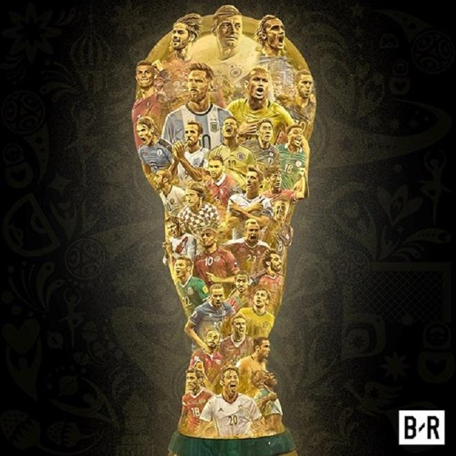 Bức ảnh điểm mặt 32 đội bóng dự World Cup 2018. Đức là đương kim vô địch khi thắng Argentina với tỷ số 1-0 ở hiệp phụ chung kết World Cup năm 2014.