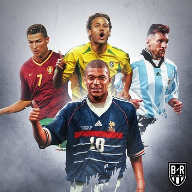 Những ngôi sao World Cup 2018 hóa thân theo phong cách hoài cổ. Trong ảnh là bộ tứ ngôi sao Messi (Argentina), Ronaldo (Bồ Đồ Nha), Neymar (Brazil) vàMbappe (Pháp).