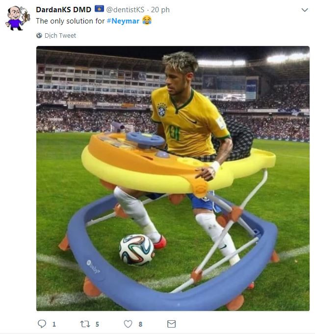 Neymar để lại ấn tượng là... thánh ăn vạ, đụng là ngã, va chạm nhẹ cũng ngã, nên phải ngồi xe tập đi...