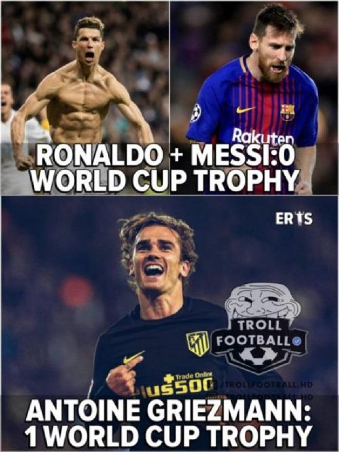 Griezmann đã có chức vô địch World Cup còn Ronaldo và Messi thì không. Có thể nói ngôi sao người Pháp đã trên tầm CR7 và M10?