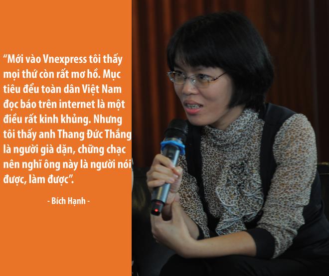 Chị Bích Hạnh, Trưởng ban Đời sống, là một trong 25 phóng viên đầu tiên của VnExpress.