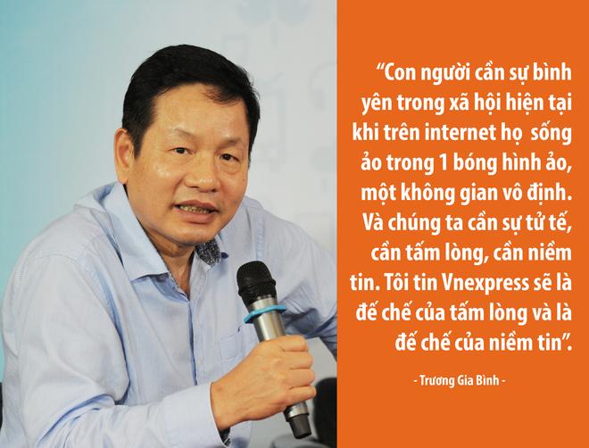 Chủ tịch Trương Gia Bình tin tưởng vào con đường mà VnExpress đã chọn trong 17 năm qua. Anh kỳ vọng TBT Thang Đức Thắng và các cộng sự sẽ xây dựng VnExpress thành một đế chế truyền thông và đế chế của niềm tin.
