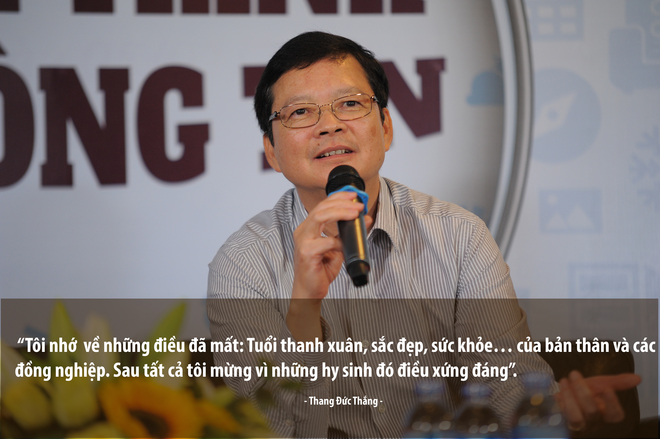 Nhà sáng lập, Chủ tịch kiêm TGĐ, TBT VnExpress Thang Đức Thắng kết lại phần Open talk dài 3 giờ bằng lời tri ân đến các cộng sự, những người đã dành cả thanh xuân để gắn bó, cống hiến cho tờ báo, cho sự trung thực, chính xác của tin tức.
