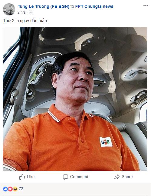 Anh Lê Trường Tùng, Chủ tịch ĐH FPT, đăng ảnh áo cam trên FPT Workplace để hưởng ứng phong trào mặc đồng phục thứ Hai hằng tuần.