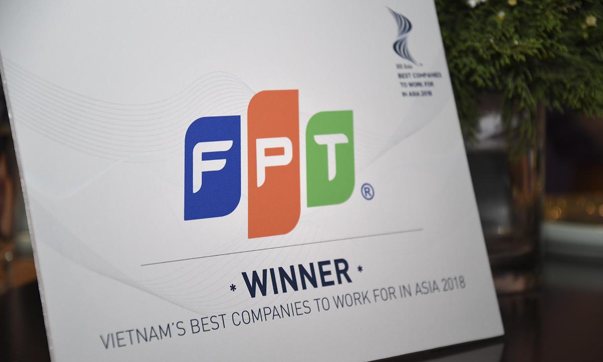 Tối qua (ngày 14/9), tại sự kiện trao giải thưởng HR Asia Award 2018, FPT được vinh danh trong danh sách công ty có môi trường làm việc tốt nhất châu Á - Best Companies to Work for in Asia Award. Danh sách của HR Asia Award 2018 có 28 công ty tại thị trường Việt Nam. Tính toàn châu Á, danh sách này có 130 công ty.