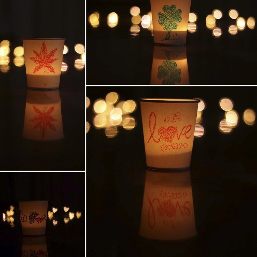 """Tác phẩm đèn cốc từ những bàn tay khéo léo của cư dân """"Thôn Hạc"""". Đây là ý tưởng của bạn Đỗ Tấn Liêm và anh Vũ Hồng Anh."""