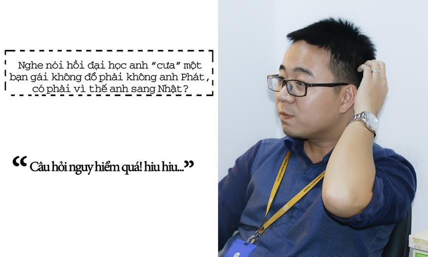 Những câu hỏi về công việc, cuộc sống với góc nhìn thẳng và thật đã được tân Trạng nguyên, Bảng nhãn và Thám hoa FPT chia sẻ trong buổi phỏng vấn trực tuyến trên Chungta.vn, diễn ra lúc 10h30 ngày 30/10.Tân Trạng nguyên Võ Đặng Phát xuất hiện tại tòa soạn Chungta.vn ở tòa nhà FPT Tân Thuận (TP HCM) trong trang phục công sở. Tốt nghiệp ĐH FPT, anh Phát đầu quân vào FPT Software năm 2011. Sau 3 năm, anh nhận trách nhiệm quản lý dự án shopping online trên TV tại thị trường Nhật Bản. Dưới sự dẫn dắt của Phát, nhóm đã tăng trưởng từ ODC 6 người lên 40 người, cán mốc 1 triệu USD vào tháng 3/2015 và hoạt động ổn định, với quy mô nhóm 40-50 người.