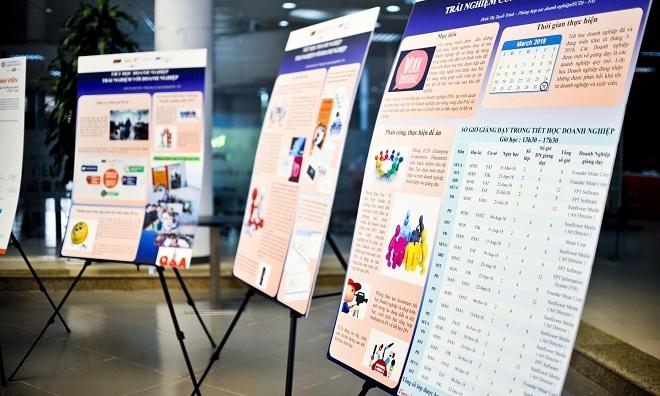 """Có 12 poster được trưng bày tại triển lãm và trình bày từ sáng đến chiều. Anh Lê Thanh Hải - Giảng viên ĐH FPT chia sẻ: """"Các poster được trình bày khá thu hút cùng nội dung rõ ràng. Bước vào sảnh Beta, khán giả như tôi đều dễ có cảm giác choáng ngợp khi vô tình lạc vào thế giới công nghệ đa dạng""""."""