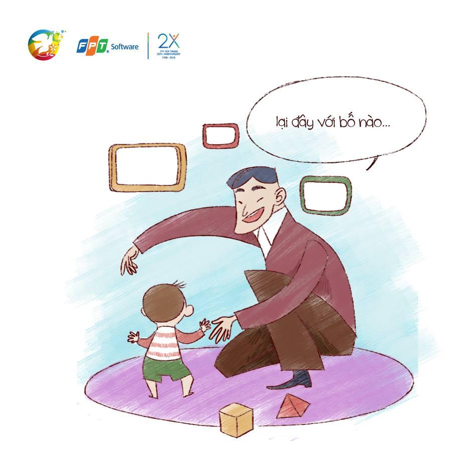 """Qua lời mẹ, con biết rằng dù bố đi công tác suốt, nhưng cứ hễ về đến nhà là bố lại """"lôi con ra chơi"""". Lúc con biết đi, chắc bố mẹ cũng tự hào lắm. Ông ngoại hay bảo: """"Bước đi, là bước đến tự do"""", đó là bước tiến quan trọng lắm trong cuộc đời mỗi người phải không bố?"""