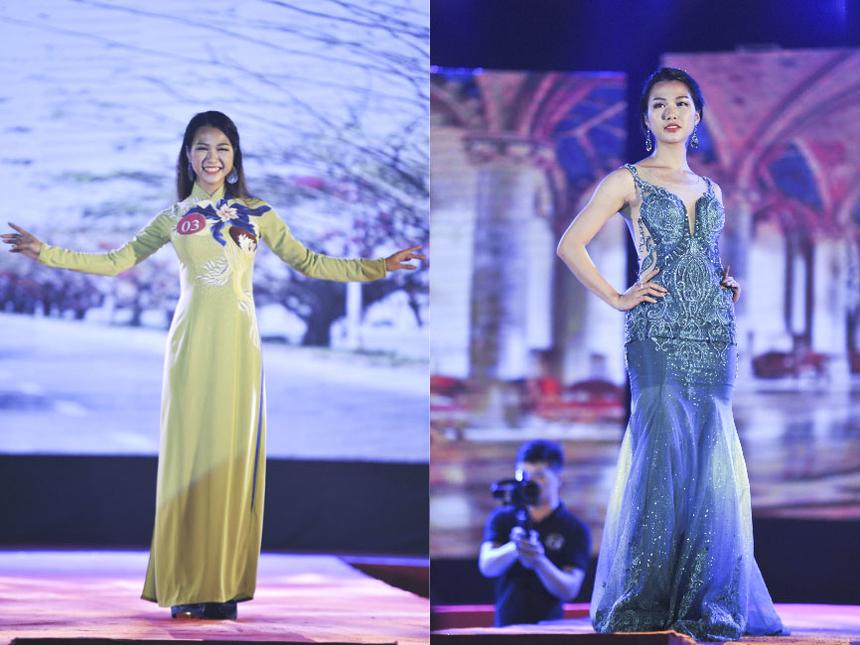 Các thí sinh phải trải qua ba vòng thi gồm trang phục áo dài, trang phục dạ hội và tài năng để tìm ra chủ nhân của ngôi vị cao nhất. Á khôi 1 ĐH FPT 2018 - Nguyễn Thị Thơ