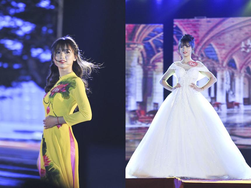 Trong khi đó, toàn bộ trang phục dạ hội được thiết kế và tài trợ bởi Thương hiệu Đầm dạ hội - Tina Thu Nguyễn. Thí sinh Phan Thị Minh Ánh (SBD: 006)