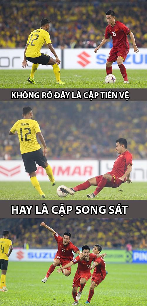 Bộ đôi tiền vệ trung tâm Huy - Hùng thay phiên nhau tỏa sáng. Thi đấu trên sân Bukit Jalil, dưới sức ép của hơn 80.000 CĐV chủ nhà, nhưng Việt Nam đã khởi đầu như mơ. Chỉ trong ba phút từ 22 đến 25, đội đã liên tiếp ghi hai bàn nhờ công Huy Hùng và Đức Huy. Tuy nhiên, các học trò của ông Park đã không giữ được lợi thế. Phút 36 họ để Shahrul Saad đánh đầu rút ngắn tỷ số sau một quả đá phạt. Cũng từ một tình huống cố định, Safawi Rasid đá phạt thành bàn gỡ hòa 2-2 cho Malaysia phút 60.