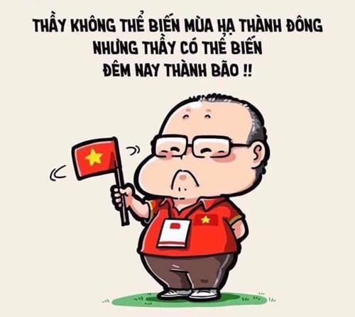 Việt Nam hạ Malaysia với tỷ số 1-0 ở chung kết lượt về tại Mỹ Đình tối 15/12. Và HLV Park Hang-seo tiếp tục trở thành tâm điểm của cư dân mạng với những hình ảnh dễ thương dành tặng cho ông.