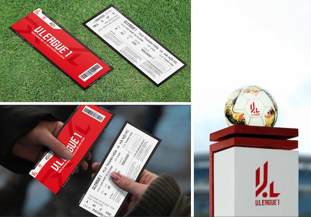 Vé xem bóng đá và trái bóng V-League có in logo kiểu mới. Các ấn phẩm đều được thiết kế một cách tinh tế và đầy sáng tạo.