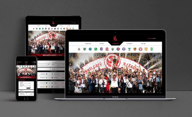 Hình ảnh mô tả website giải đấu với bộ nhận diện mới.