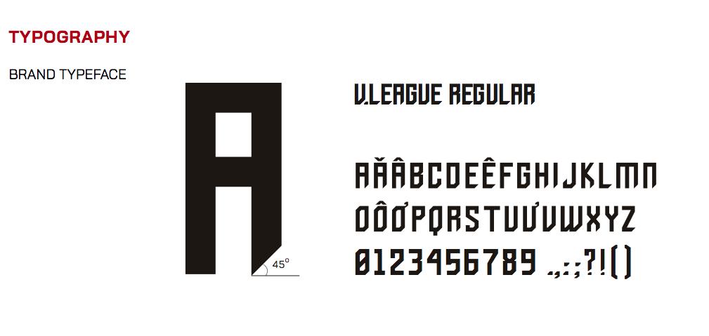 Typography cho bộ nhận diện thương hiệu được thiết kế từ phông chữ Regular đầy mạnh mẽ.