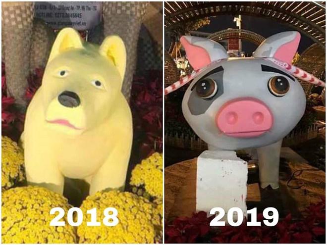 """Bức tượng heo tại đường hoa ở quận 7 (TP HCM) """"gây bão"""" vì tạo hình khác xa bản gốc và biểu cảm buồn rầu."""