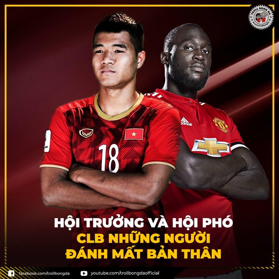"""Sự tỏa sáng bất ngờ của cầu thủ có biệt danh """"chân gỗ"""" Hà Đức Chinh khi ghi bàn mở tỷ số được so sánh với tiền đạo Lukaku - một tiền đạo """"chân gỗ"""" đang chơi thăng hoa trong màu áo Man Utd."""