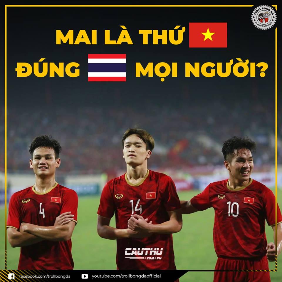 """Ngày mai là thứ mấy, chắn chắn là """"thứ Tư"""". Người chế khéo léo dùng quốc kỳ Việt Nam và Thái Lan để chỉ các con số."""
