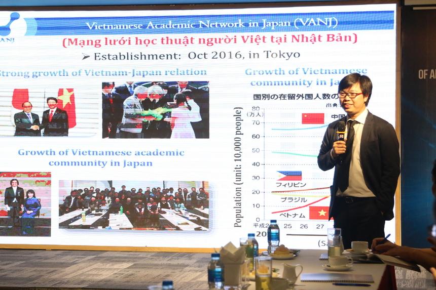 Tiến sĩ Lê Đức Anh, ĐH Tokyo đến từ tổ chức VanJ (Vietnamese Academic Network in Japan) - người có 13 năm sinh sống và làm việc tại Nhật Bản đã giới thiệu về mạng lưới học thuật của người Việt Nam tại Nhật. Với sự phát triển mạnh mẽ của cộng đồng người Việt Nam tại đất nước mặt trời mọc, TS. Lê Đức Anh cho rằng việc nghiên cứu, phát triển AI của các kỹ sư người Việt tại Nhật sẽ có rất nhiều thuận lợi. Họ sẽ có cơ hội được tiếp xúc, làm việc cùng các chuyên gia hàng đầu của Nhật Bản về AI cũng như cùng nhau trao đổi, nâng cao kiến thức, năng lực về công nghệ của mình. VanJ sẽ là cầu nối để những kỹ sư phần mềm FPT Japan giao lưu, học hỏi về Trí tuệ nhân tạo với các chuyên gia người Việt tại Nhật Bản cũng như những chuyên gia hàng đầu về AI trên thế giới.