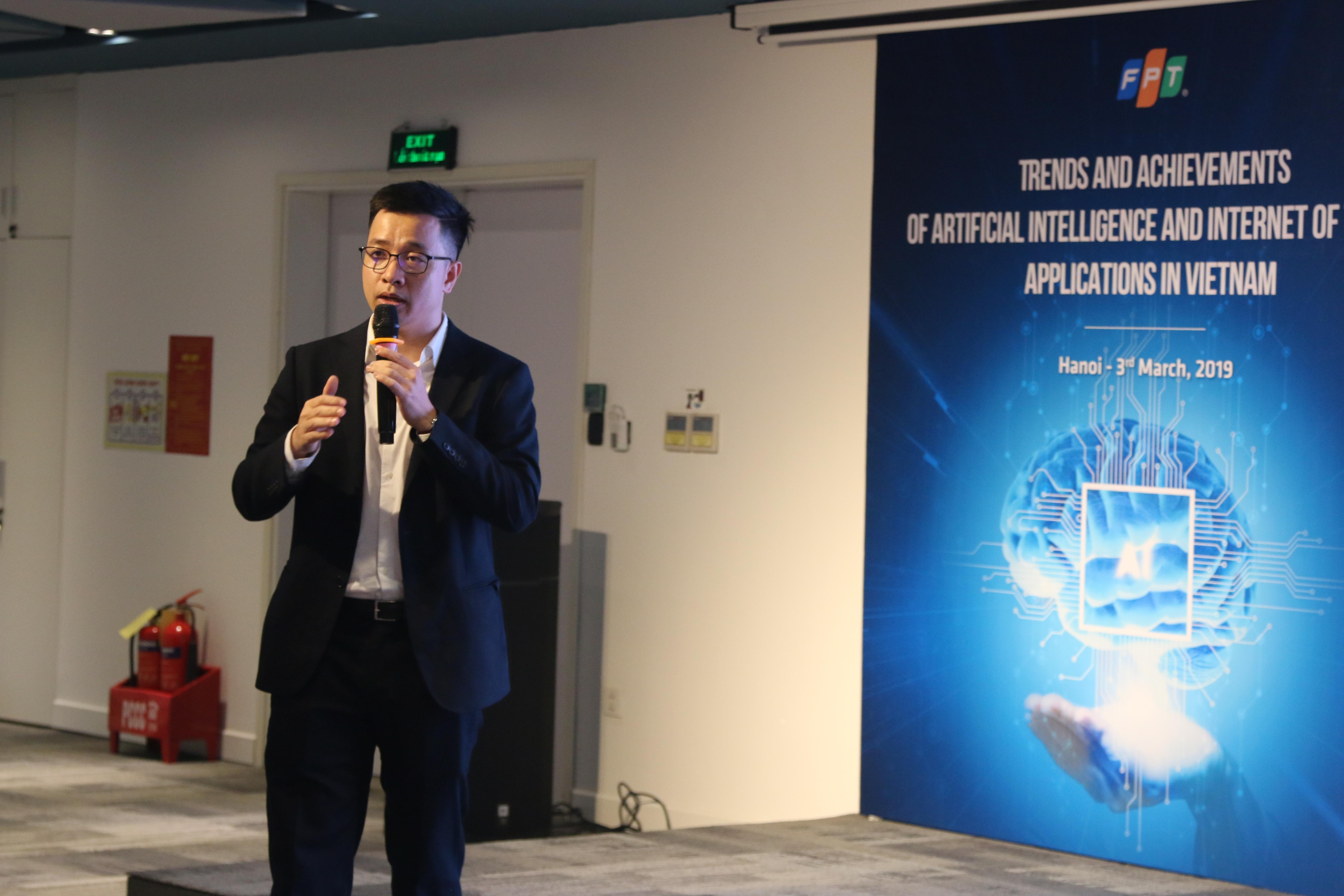 TS. Cao Vũ Dũng, Quản lý và Kỹ sư AI, Skydisc Inc., Nhật Bản chia sẻ về những thành tựu mà AI mang lại trong cuộc sống như: Nhận diện ảnh (Image Classification);Nhận diện giọng nói; Nhận diện khuôn mặt;Phát hiện ung thư; Xử lý ngôn ngữ tự nhiên.TS. Dũng cho biết Nhật Bản muốn xây một Super smart society (Xã hội đầu tiên 5.0 dẫn đầu thế giới). Tuy nhiên cũng có rất nhiều thách thức đối với họ như:Thiếu lực lượng IT: họ cần 550.000 kỹ sư CNTT vào năm 2030. Đây là cơ hội cho các công ty IT nước ngoài, trong đó có Việt Nam. VIệt nam đang có lợi thế lớn trong cung cấp nhân lực về AI. Nhật Bản đặt mục tiêu đào tạo 250.000 chuyên gia AI /năm. Mục tiêu chính của Nhật Bản là ứng dụng AI trong y tế, sản xuất và nền tảng di động.