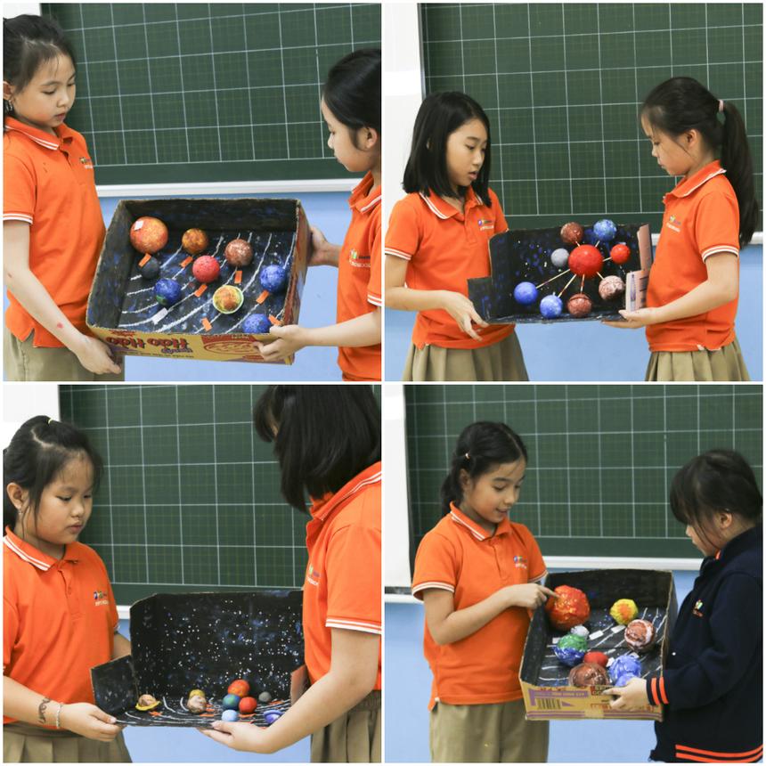 4 mô hình được trang trí bằng trí tưởng tượng phong phú của các bạn nhỏ. Từng nhóm lần lượt lên thuyết trình về sản phẩm của nhóm mình.