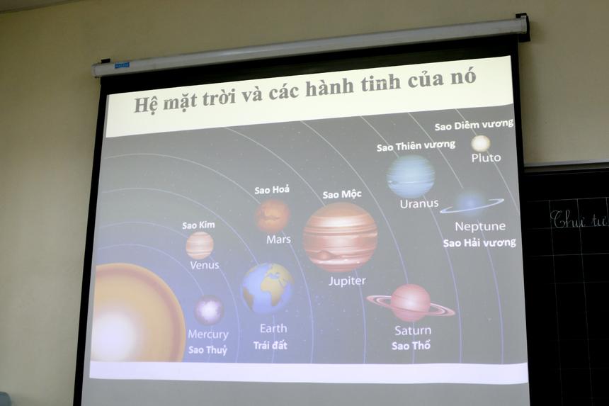 """Giờ học """"Khoa học và Xã hội"""" diễn ra tại lớp 3A2 với chủ đề về các hành tinh trong hệ mặt trời."""