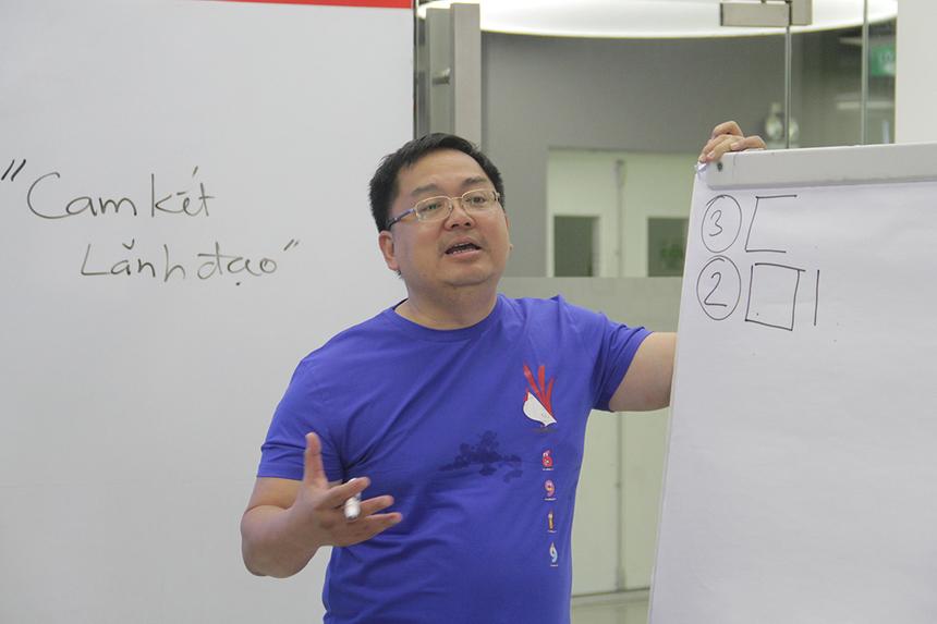 """Chủ tịch FPT Software là người chấm điểm cũng như tài trợ phần thưởng cho đội giành chiến thắng. Với ý tưởng hành quân về nguồn, nhóm của anh Trần Lê Anh Minh, đơn vị BTEC, là những người chiến thắng ở thử thách thứ nhất. Đội anh Nguyễn Hữu Phong, Ban Văn hóa - Đoàn thể FPT Software tại Đà Nẵng, chiến thắng ở câu hỏi """"12 sự kiện trong 12 tháng và kinh phí""""."""
