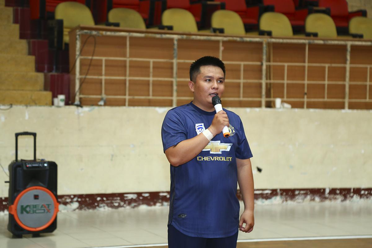 Anh Võ Minh Toàn - Phó Giám đốc SG15 thay mặt các cầu thủ tham dự giải đấu phát biểu thể hiện tinh thần thi đấu.