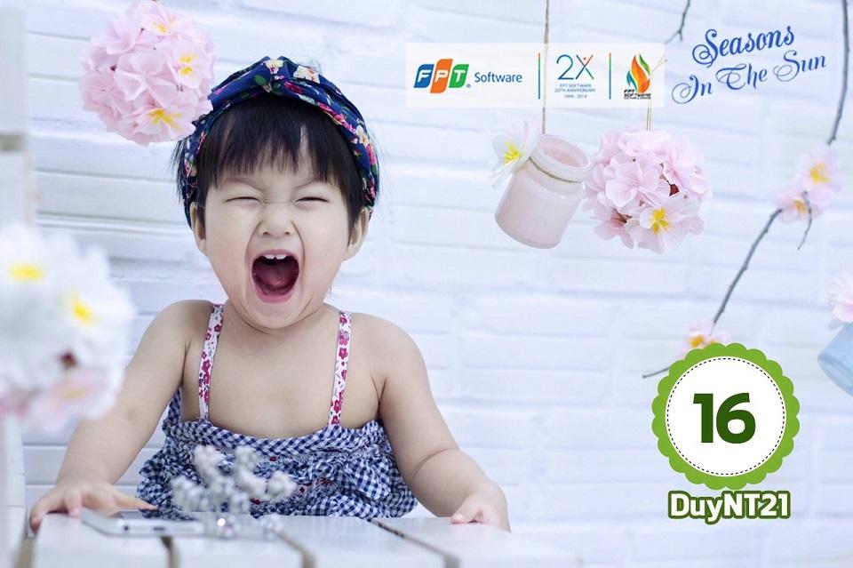 Bé Nguyễn Cát Mộc Trà thể hiện cảm xúc mạnh mẽ. Mộc Trà là con của anh Nguyễn Trường Duy, đơn vị DPS.DPC.