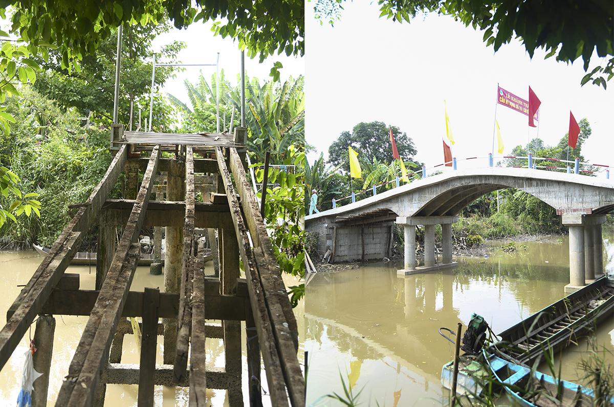 Cây cầu cũ đang được tháo dỡ để chuyển vật liệu sang lắp đặt ở vị trí khác chưa có cầu cho bà con đi tạm. Cây cầu mới được xây dựng cách vị trí cầu cũ hơn 50m và được hỗ trợ thiết kế của địa chính phường Thạnh Hòa cùng hơn 100 chiến sĩ bộ đội địa phương.