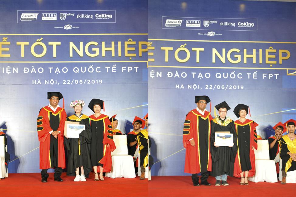 """Buổi lễ còn có một sự tôn vinh đặc biệt dành cho 2 sinh viên giành danh hiệu """"Best Student"""" là Nguyễn Thị Vi Quỳnh (FPT Aptech) và Nguyễn Lê Thế Phương (FPT Arena). Danh hiệu do Aptech Ấn Độ lựa chọn theo 2 tiêu chí: điểm tổng kết 2 năm cao nhất và thời gian tốt nhiệp sớm nhất (tính từ thời điểm kết thúc kỳ 4)."""