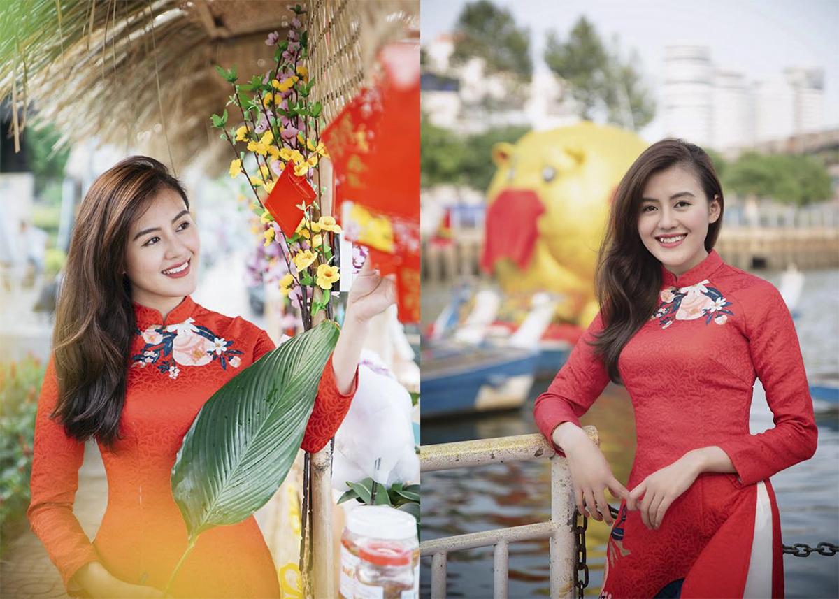 Ngoài những trang phục cá tính, nhờ sở hữu vóc dáng chuẩn, Thảo Uyên còn nổi bật trong bộ áo dài ngày Tết.
