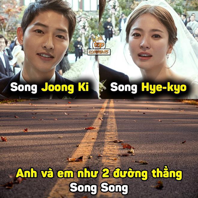 """Cách lý giải hài hước mà dân mạng Việt gán cho vụ ly hôn của Song Hye Kyo và Song Joong Ki chính là nằm ở họ của 2 người. Ngày họ thông báo yêu đương và kết hôn, nhiều người gọi tắt là """"Song Song Couple"""". Và giờ đây, 2 đường thẳng song song lại được xem như là nguyên nhân cho sự đổ vỡ của cặp đôi này."""