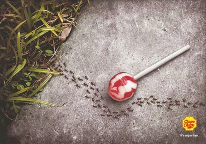 Quảng cáo kẹo mút không đường rất ấn tượng của Chupa Chups.