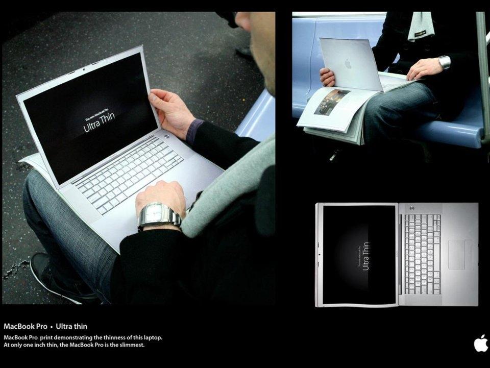 Còn đây là quảng cáo của Apple, nhấn mạnh vào độ mỏng của MacBook Pro.