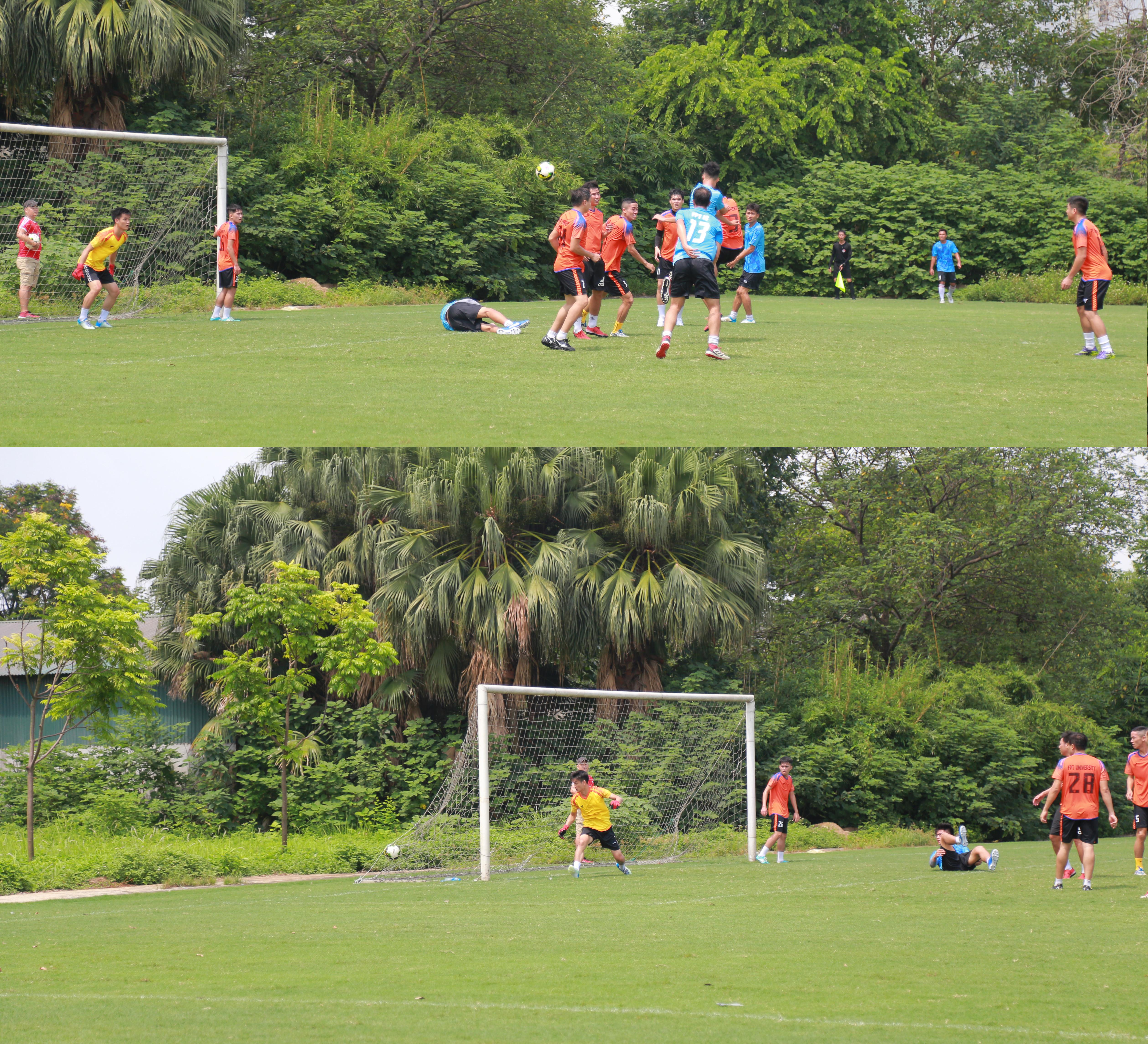 FPT IS áp dụng chiến lược lấy công làm thủ, cho thấy mình cũng là đối thủ đáng gờm khi liên tục bắn phá khung thành đối phương ngay từ đầu trận. Tuy nhiên, các cầu thủ áo xanh phải chờ đến cuối hiệp 1 mới ghi được bàn thắng bằng pha đánh đầu cận thành từ tình huống đá phạt góc của cầu thủ số 8 Hồ Văn Phong.