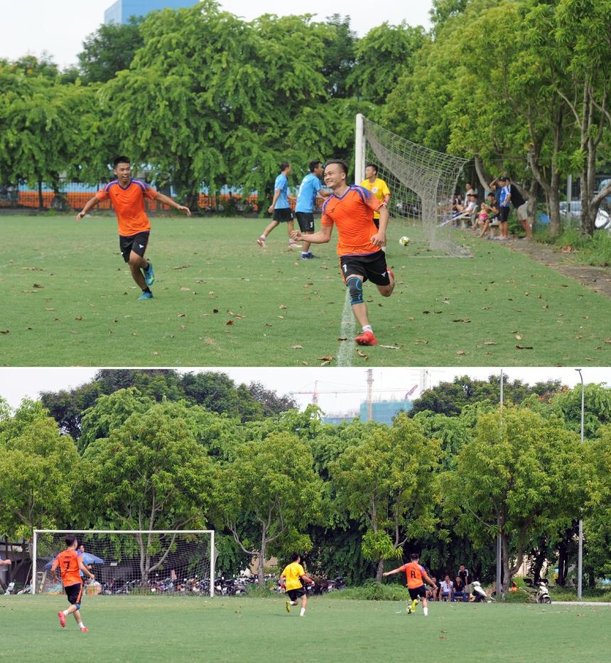 FPT Education đã chơi lấn át đối thủ ngay sau tiếng còi khai cuộc, sử dụng khả năng bức tốc của các cầu thủ trẻ cùng các đường bấm bóng của trung vệ từ giữa sân và phối hợp bật nhả 1 chạm khu vực 16m50 để tấn công. Tận dụng được lỗi ra vào không hợp lý của thủ môn đối phương, các cầu thủ áo cam đã ghi 2 bàn thắng ngay trong hiệp 1 của các cầu thủ Lại Hồng Anh (áo số 8).