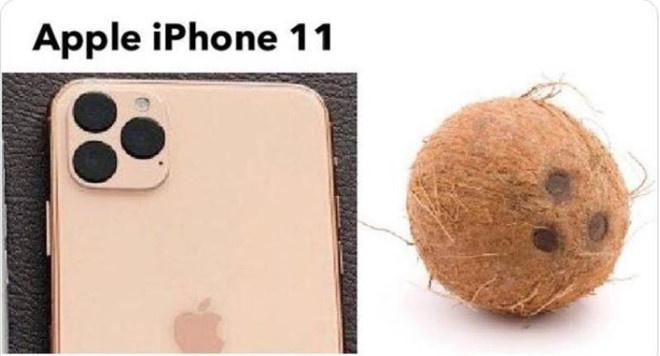 """Dân mạng chế cụm camera của iPhone 11 """"chật chội"""", thậm chí khá thô và với 3 đốm đen trông giống một trái dừa."""